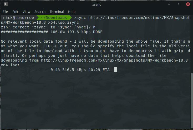 Zsync Downloading MX Linux