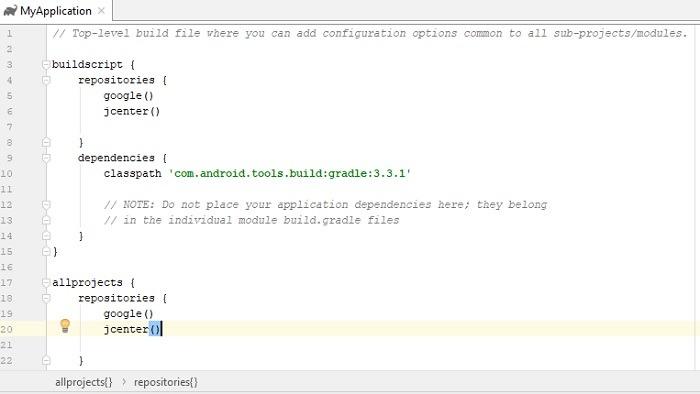 Build Gradle in Android Studio