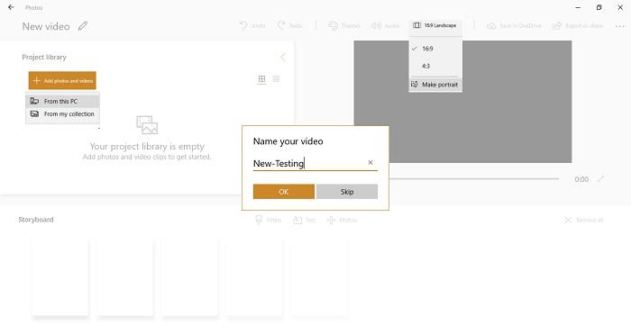 Create New Custom Video in Photos App