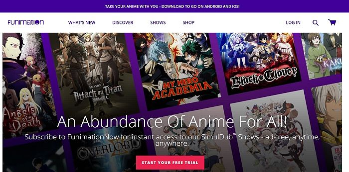 Funimation homepage