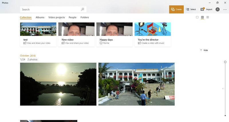 Microsoft photos app homepage