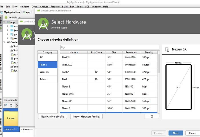 Select Hardware Emulator in Android Studio
