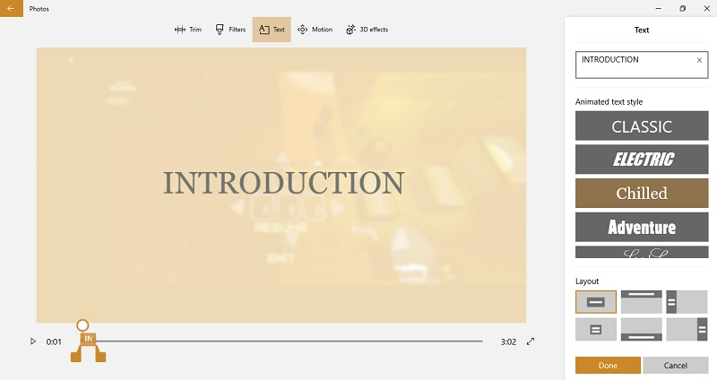 Text effects Video Editing in Photos App