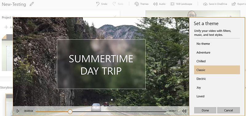 Themes Set in Photos App Video Editor