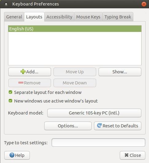 MATE Keyboard Settings