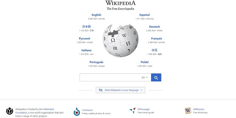 Featured Wikipedia Homepage