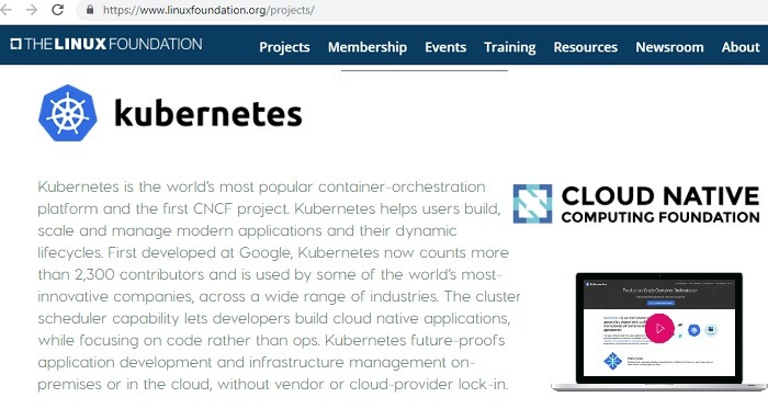 Kubernetes as part of CNCF and Linux Foundation
