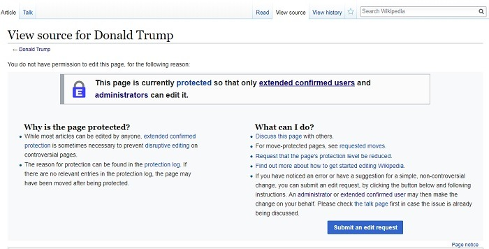 Protected Page on Wikipedia