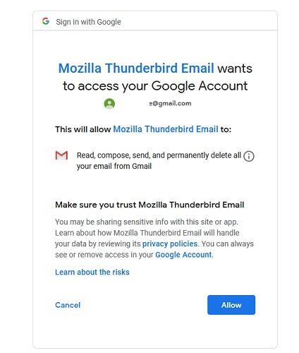 Thunderbirds Wants To Access Google Account