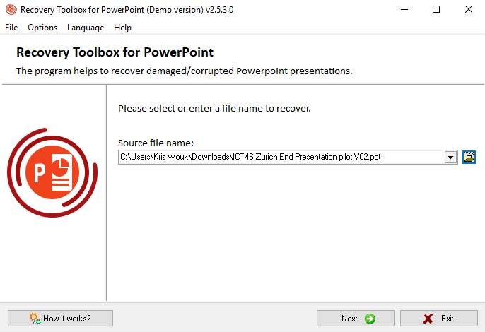 Recover Toolbox For Powerpoint Choosing File