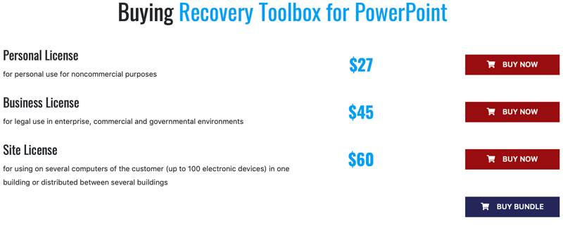 Recover Toolbox For Powerpoint Pricing