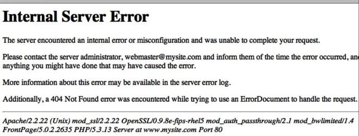 500 Internal Server Error Message
