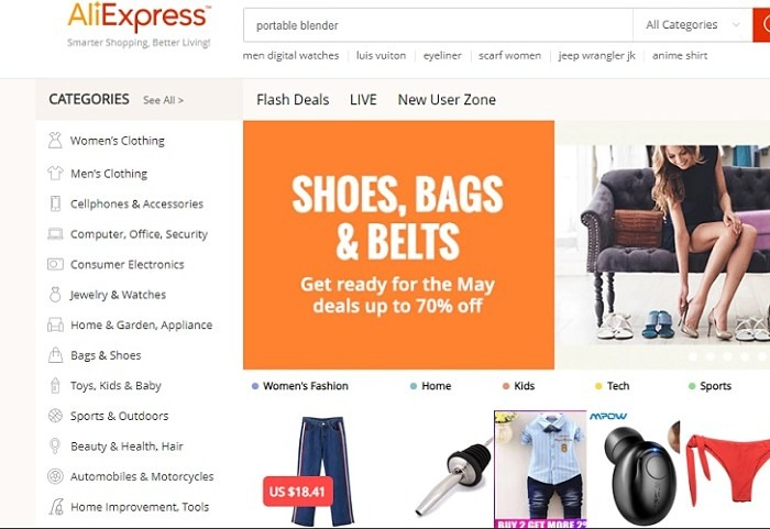 Aliexpress Homepage Appearance