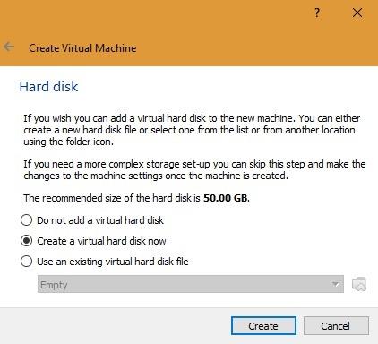 Create Virtual Hard Disk Virtualbox