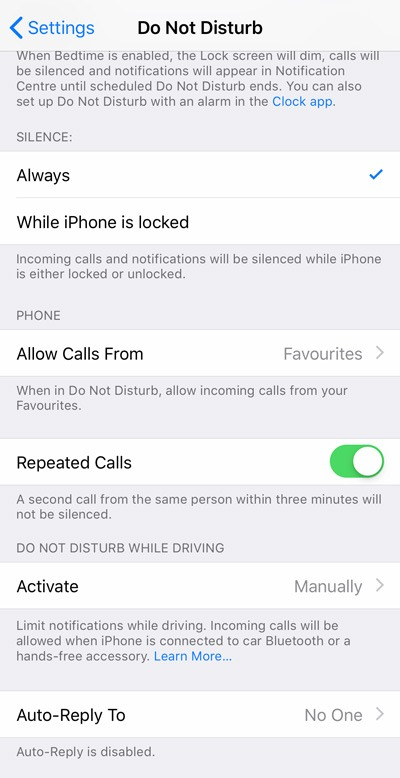 Do Not Disturb Settings