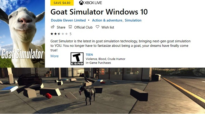 Goat Simulator Windows10