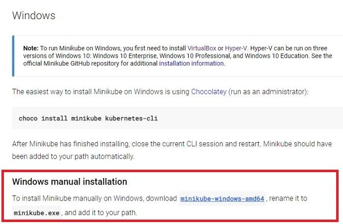 Minikube Windows Installation