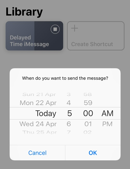 Schedule Text Message Select Time