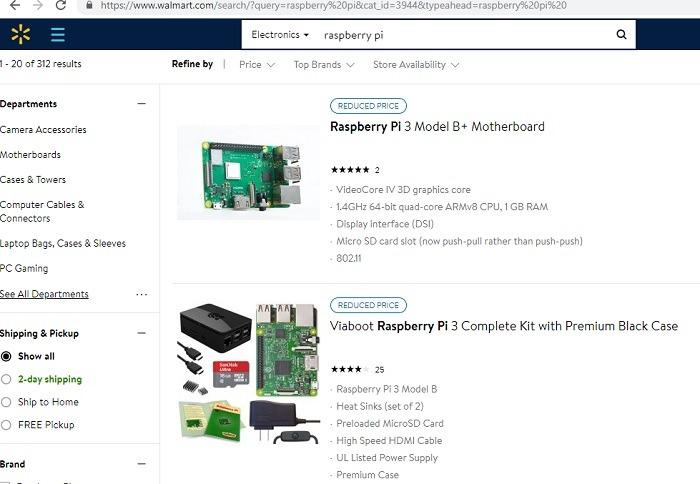 Walmart Search Results Raspberry Pi