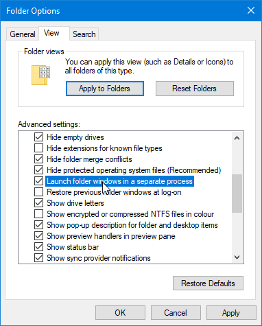 File Explorer Tips 05 Separate Processes