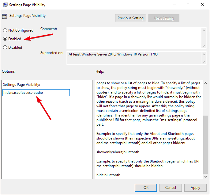 Hide Settings Page 11 Enable Policy