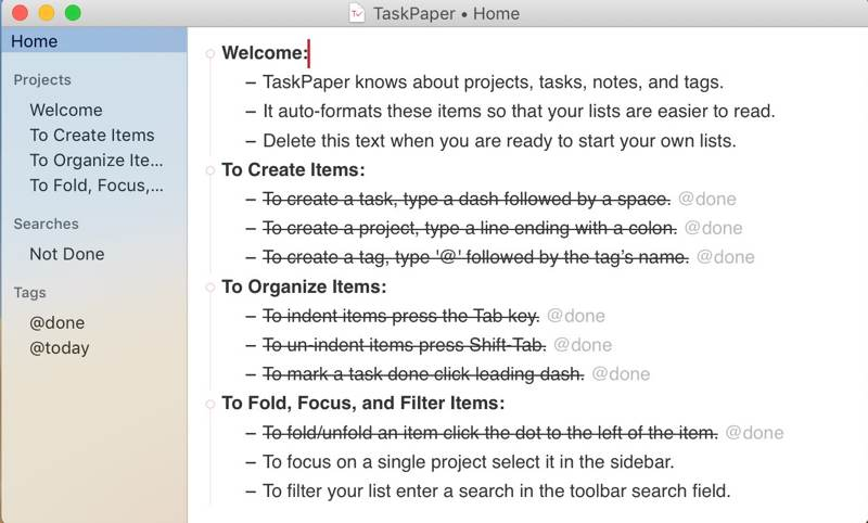 Intro To Taskpaper Intro Screen