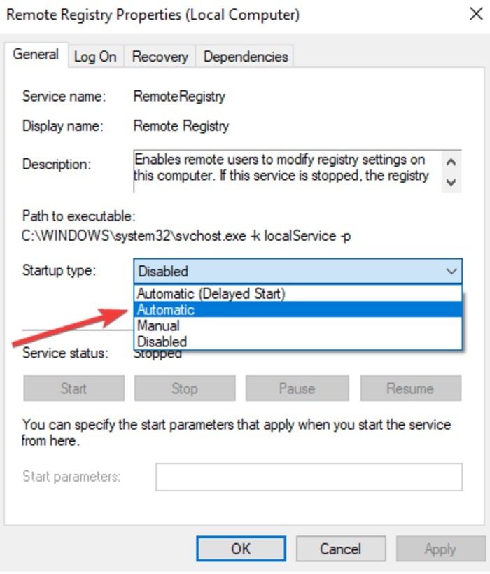 Remotely Shutdown Restart Windows10 Pc Services Remote Registry Properties Startup Type Automatic