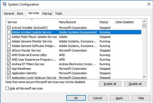 Taskbar Not Working Windows 10 Msconfig