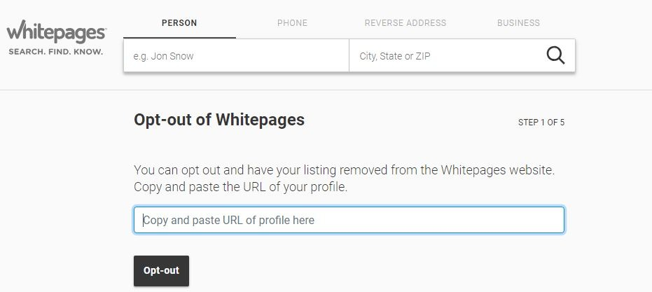 Whitepages Opt Out Form