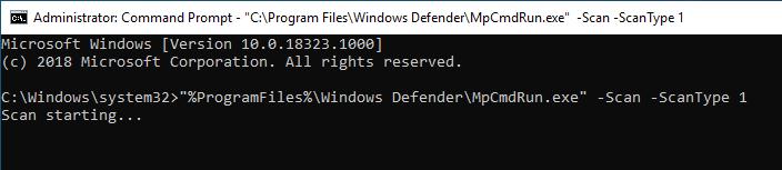Windows Defender Command Line 02 Quick Scan