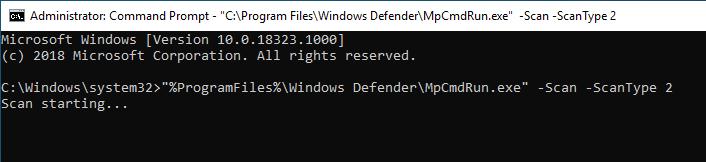 Windows Defender Command Line 03 Full Scan