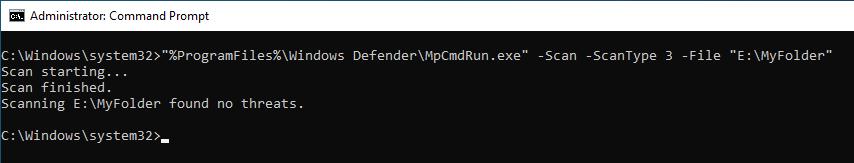 Windows Defender Command Line 04 Custom Scan