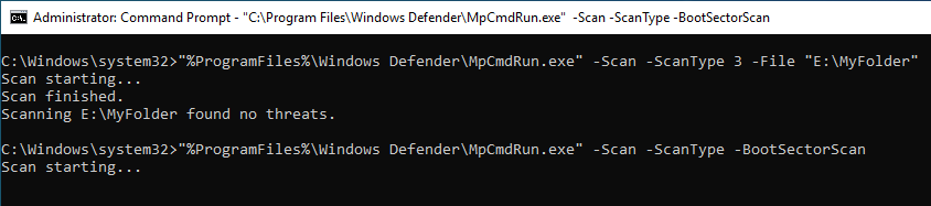 Windows Defender Command Line 05 Boot Sector Scan