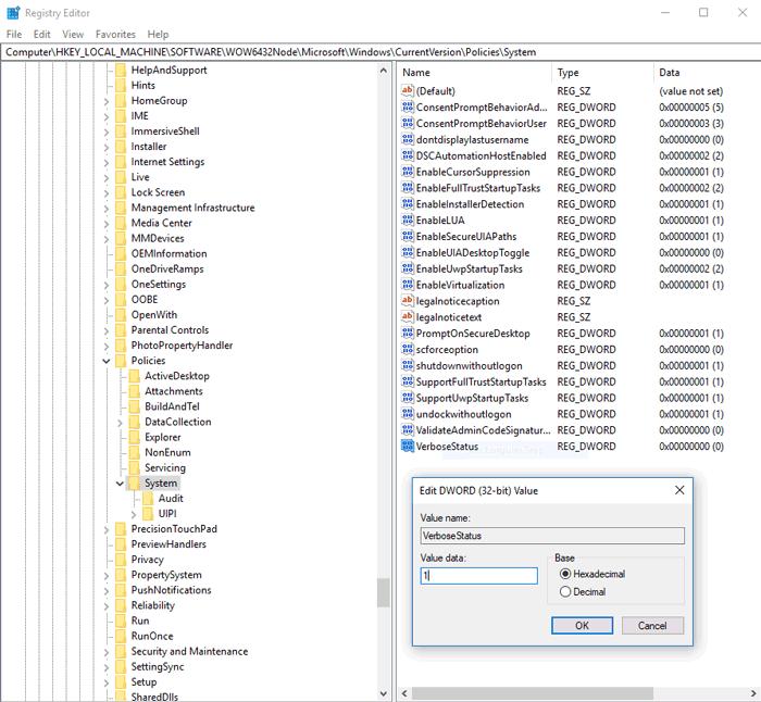Windows Registry Hacks Verbosestatus