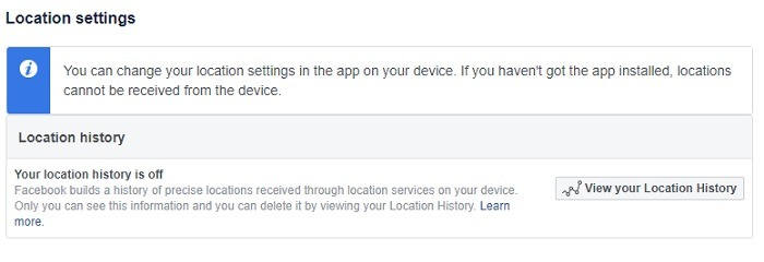 Facebook Location Settings