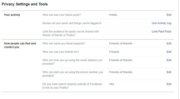 Facebook Privacy Setting Sand Tools