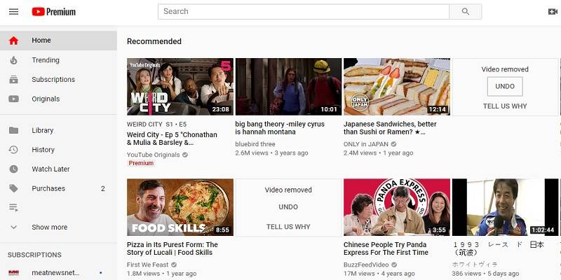 Featured Youtube Homepage Premium Subscription