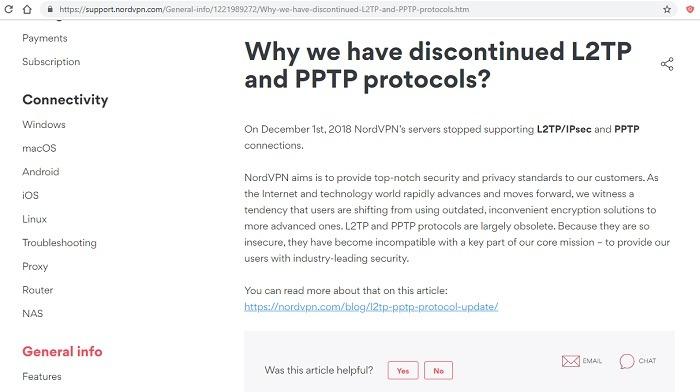 Nordvpn Discontinued L2tp Pptp