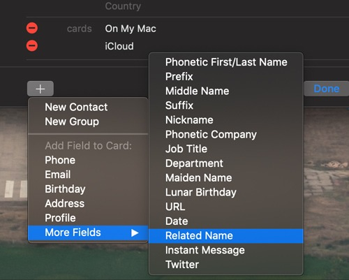 Relationship Contacts Mac Add Related Name