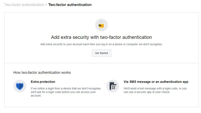 Two Factor Authentication Facebook