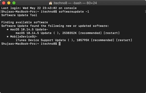 Update Mac Using Terminal List Updates