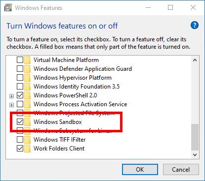 Windows Sandbox Select Windows Sandbox