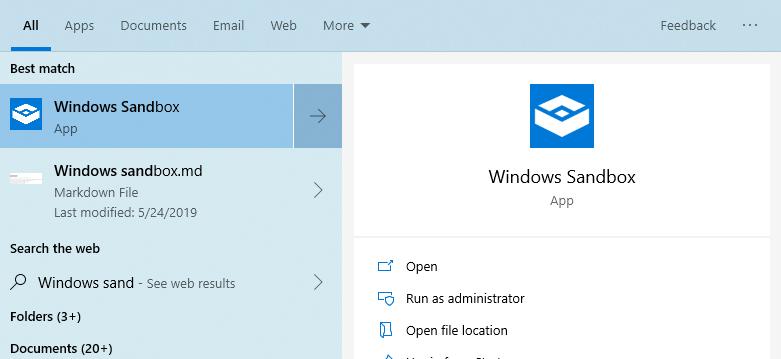 Windows Sandbox Start Menu Search