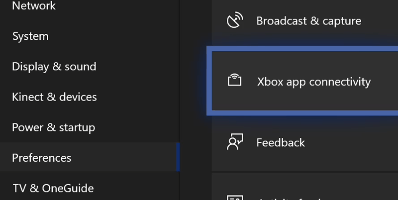 Conectividade do Xbox Preferences App