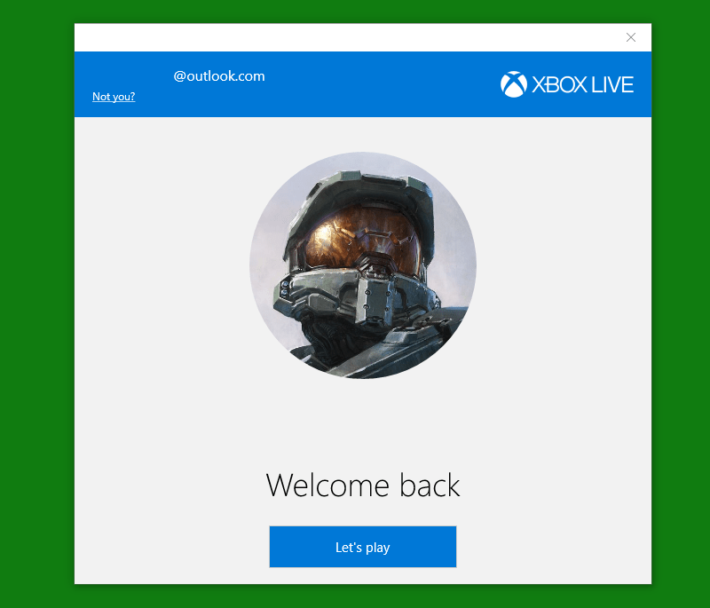 Estágio de login do Xbox Windows App