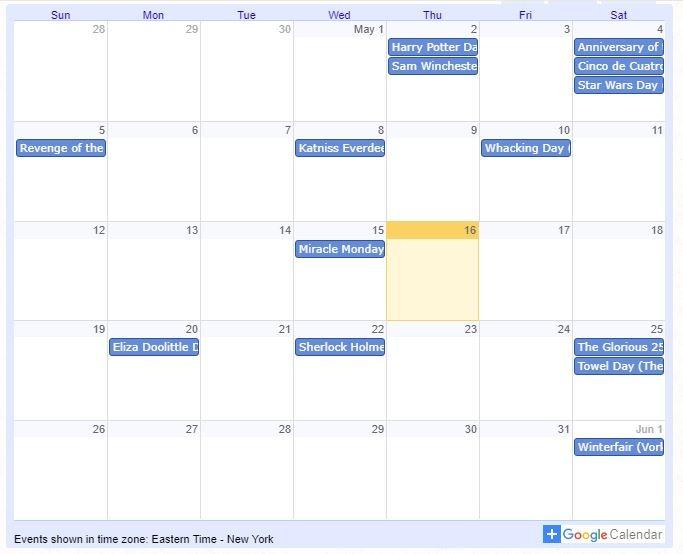 Add Google Calendars Fictional Holidays