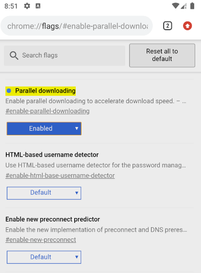 Android Chrome Flag Parallel Downloading