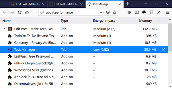 Browser Extensions Slow Firefox Task Manager