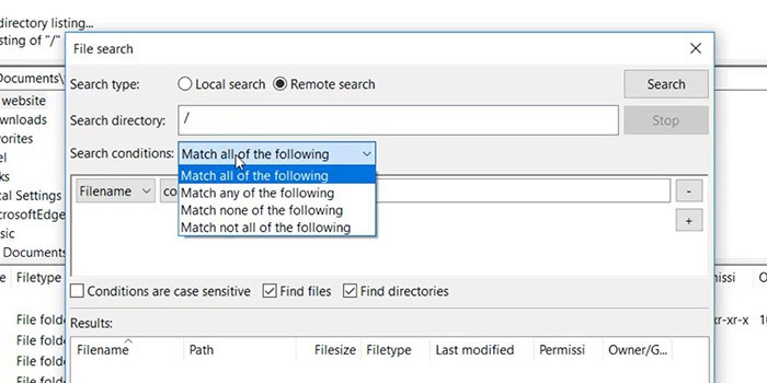 Filezilla Pro Search Tools Condition Selection