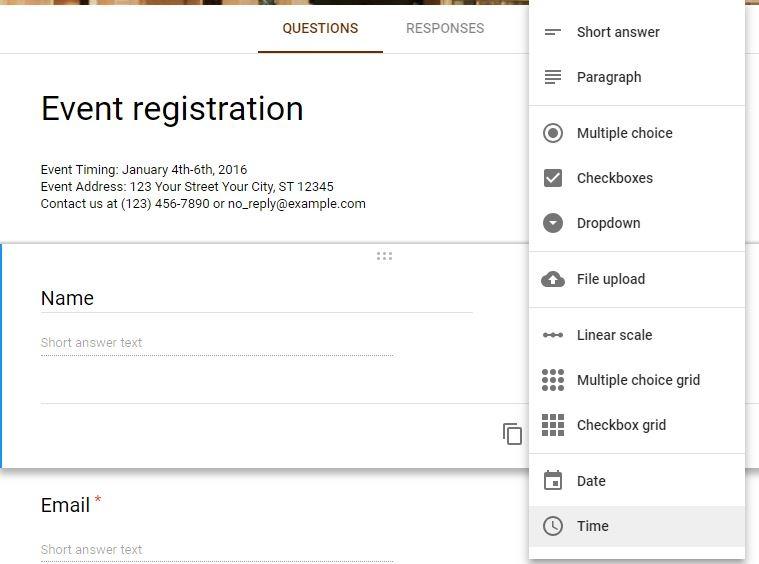 Google Forms Registration Dropdown